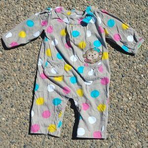 Carter's Long sleeve polka dot onesie monkey print